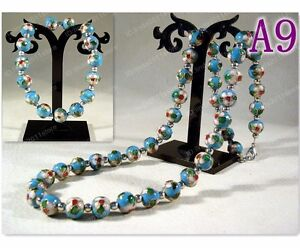 Handmade cloisonne beautiful floral beaded Necklace+Bracelet Bangle (Sky Blue)