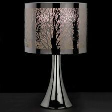 New Silver Chrome Tree Scene Touch Pad Table Lamp Light Bedside Lounge Bedroom