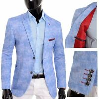 Men's Light Blue Blazer Jacket Casual Smart Slim Fit Summer Red Finish Cotton