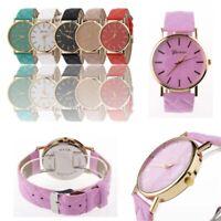 Women Fashion Watches Geneva Faux Leather Analog Quartz Wrist  Ladies Watch Gift