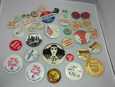 Vintage 1960's / 70's / 80's - 37 Assorted Pinbacks Buttons Pins Lot Advertising