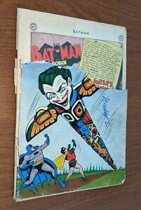 Batman #66 DC Comics 1951 2/3rd Cover Complete Joker Totem Pole Batman II Story