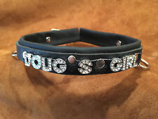 """ANY WORD  locking leather collar 1"""" wide crystal letters"""