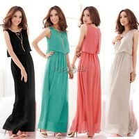 Ladies Womens Maxi Dress Size 6-14 Summer Long Skirt Evening Cocktail Party TOP