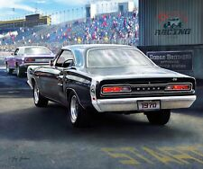 "Dodge 1970 Super Bee Mopar Car Small Panel Quilt Fabric  18"" x 20"""
