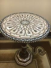 "Antique Wood Coffee, End Table Inlaid Mother of Pearl  (16"")"