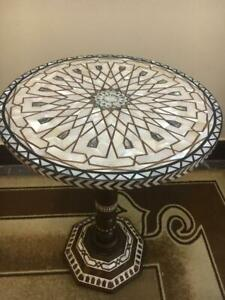 """Antique Wood Coffee, End Table Inlaid Mother of Pearl  (16"""")"""