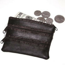 Black Genuine Leather Men's Coin Purse Change Holder Key Ring Keychain Wallet