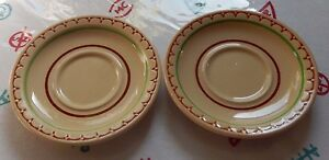 Syracuse Econo-Rim Adobe Restaurant Ware Saucers (2) Tan With Brown Green Rings