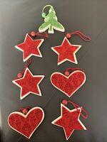 Lot 7 Holiday Christmas Wooden Felt Stars Hearts Tree Red Green Ornaments