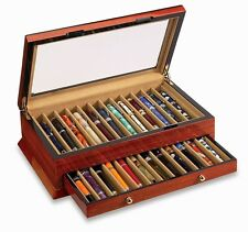 VOX Luxury Twenty Four 24 Pen Display Holder Case Wood Beveled Glass x-pc-24-b
