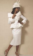 NEW WOMENS ASHRO WINTER WHITE FRAN SKIRT SUIT PLUS SIZE 20W 20 W CHURCH DERBY