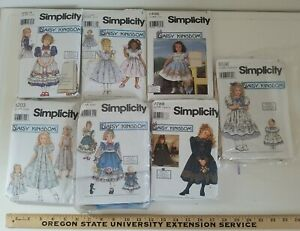 Lot of 7 DAISY KINGDOM Simplicity GIRLS PARTY DRESS & DOLL Used Dress Patterns