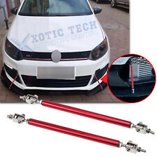 2x Sporty Adjustable Red Bumper Lip Splitter Strut Rod Support Bars For VW Jetta