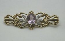 Beautiful Two Colour 9ct Gold Amethyst And Diamond Brooch