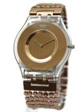 Swatch Women Paved In Bronzed Slim Case Skin Watch 61/2 inches SFK129B $130 D