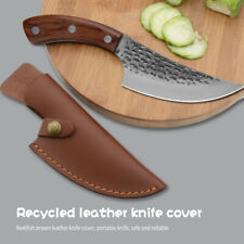"5.5"" Cleaver Butcher Handmade Forfed Chef Boning Knife Leather Sheath"
