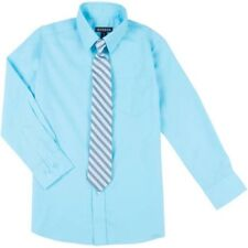 George Boys' Dress Shirt Clip-on Tie Solid Blue Long-Sleeve Size Xs 4-5