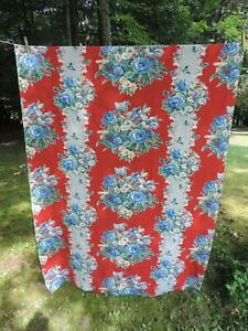 FABULOUS PIECE VINTAGE FRENCH FABRIC~RED & BLUE FLORAL~48 X 72~