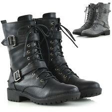 Womens Mid Calf Lace Up Combat Ladies Buckles Punk Military Biker Boots Shoes