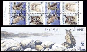 Aland 1996 Birds, Owls, Adults, Juvenile, Complete Booklet UNM / MNH