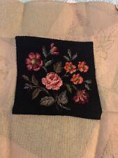"Vintage Needlepoint Floral Measures 7.5"" Square"
