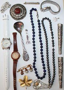 Konvolut Bastelschmuck Uhren Brosche Löffel Kette Nachlass vintage