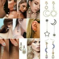 Boho Asymmetrical Star Sun Moon Leaf Drop Dangle Ear Stud Earrings Women Jewelry