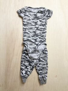 Baby Boy Nb Newborn Outfit Carters Gray Camouflage Top and Pants