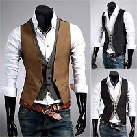 Mens Casual Layered Waistcoat Business Dress Vest Suit Slim Tuxedo Jacket Coat