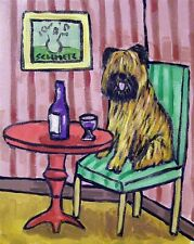 Briard dog at the wine bar cellar decor giclee gift 8.5x11 glossy photo print