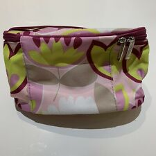 CLINIQUE COSMETIC HAND BAG TRAVEL CASE CLUTCH PURPLE~GREEN~PINK~WHITE FLOWERS