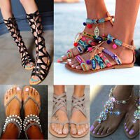 Womens  Ankle Ribbon Tie Lace Up Sandals Round Peep Toe Slingback Gladiator Size