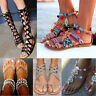 Ankle Ribbon Tie Lace Up Sandals Round Peep Toe Slingback Women Sexy Gladiator