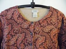 LL BEAN Burgundy Paisley Knit Cardigan Sweater SIZE S