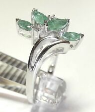 14k SOLID WHITE GOLD NATURAL EMERALD & DIAMOND LADIES  RING SIZE 6.5