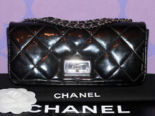 CHANEL Patent Leather 2.55 Mademoiselle Quilted East West Classic Flap Bag *SHW*