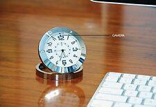 NIB Sharper Image Motion Activated Camera Desk Clock 203174 Elegant Silver Spy