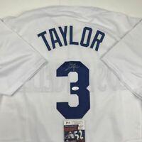Autographed/Signed CHRIS TAYLOR Los Angeles LA White Baseball Jersey JSA COA
