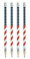 Pack of 12 - Patriotic Wooden USA Flag Pencils - July 4th Party Bag Fillers