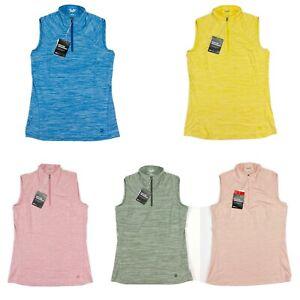 Puma Daily Mockneck Sleeveless Golf Shirt Zip Heather Womens SZ S ( 595829 )