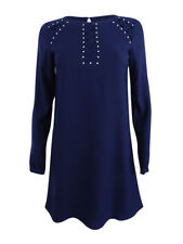 ca245bf7d2d Jessica Simpson Navy Long-sleeve Lace Inset Studded Shift Dress 4