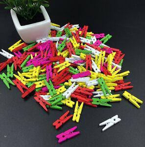 50pcs Wooden Craft clips Mix-color Clothe Photo Paper Peg Clothespin 25mm