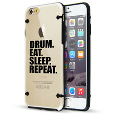 For iPhone SE 5 5s 6 6s 7 Plus Clear TPU Hard Case Cover Drum Eat Sleep Repeat