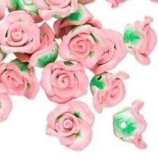 4168 Pink Polyclay Rose Beads 13mm PK6 *UK EBAY SHOP*