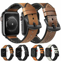 38 40 42 44mm Genuine Leather Band Strap for AppleWatch iWatch Series SE 6 5 4 3