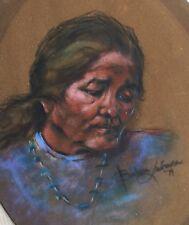 Vintage Portrait Painting N American Lady Barbara Lawrence Pastel Vibrant
