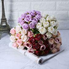 12 Heads Artificial Silk Flowers Bunch Rose Bouquet Wedding Home Party Decor