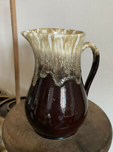 """11"""" X 7"""" Rare Size - Vintage Roseville Pottery Pitcher Burgundy Brown With Drip"""
