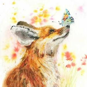 Fine Art PRINT of FOX n BUTTERFLY original watercolour by HELEN APRIL ROSE   580